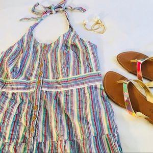 Dresses & Skirts - Striped Blue Multi Seersucker Halter Dress